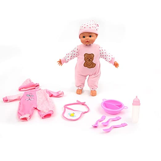 Mamatoy MMA34000-Poupée - bébé 36cm avec 24sons, accessoires repas et double robe