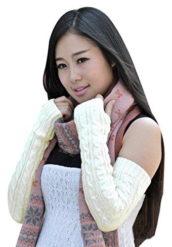 bellady-womens-ladys-fingerless-design-thumb-hole-arm-warmer-gloves-white