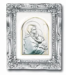 Madonna and Child with Antique Silver Frame