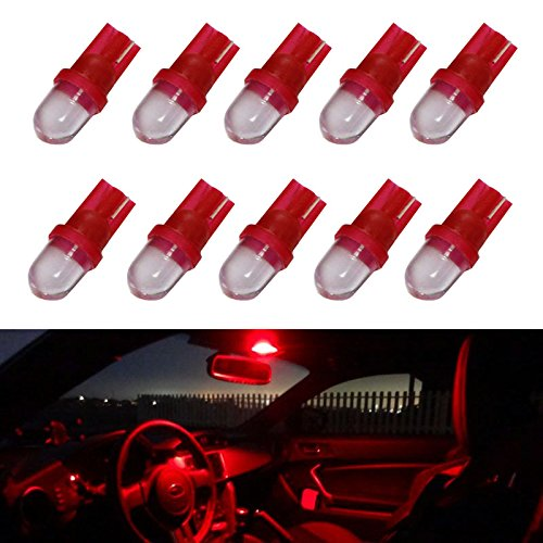 iJDMTOY (10) Brilliant Red Single-Emitter 1-LED 168 175 194 2825 W5W T10 LED Replacement Bulbs For Car Interior Lights, Map Lights, Dome Lights, Foot Area Lights, Trunk Area Lights, etc (Interior Car Lights Led 07 Denali compare prices)