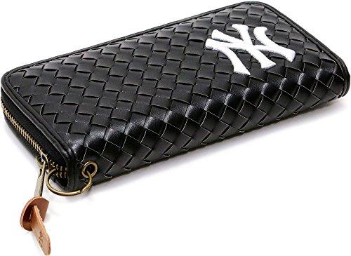 (ニューヨークヤンキース) NEWYORK YANKEES 財布 メンズ 長財布 合皮 編み込み 5color Free ブラック