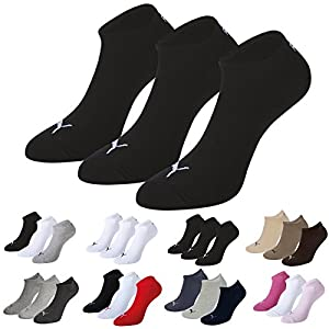 Puma Sports Socks - Unisex Invisible Sneakers 3P -Three Pair Packs Of Plain/Mix Black UK Size 2.5-5