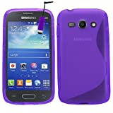 Samrick S Wave Hydro Gel Protective Case, Screen Protector, Microfiber Cloth, Purple High Capacitive Mini Stylus Pen for Samsung Galaxy Ace 3 S7270/S7272 Dual-Sim/S7275 LTE 4G - Purple