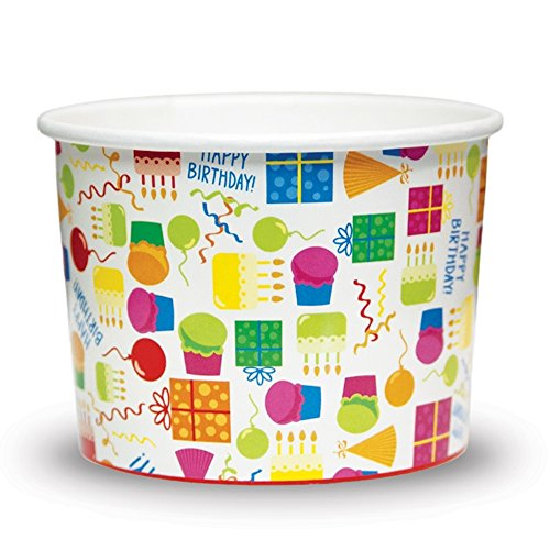 12 oz Ice Cream Cups, Happy Birthday Paper Cups, Birthday Party Cups Perfect For a Slice of Cake and a Scoop of Ice Cream (Ice Cream Cake Food compare prices)