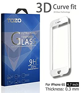 iPhone 6S 3D Screen Protector Glass , TOZO Full Screen Frame Cover [3D Touch Compatible] Premium Tempered Glass 9H Hardness 2.5D Edge Silk Print Super Clear Perfect Fit Screen [ 4.7 inch ] White from TOZO