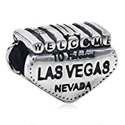 925 Sterling Silver Welcome To Las Vegas Sign Charm Bead 3370