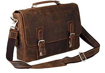 """Kattee Mens Crazy Horse Leather Shoulder Briefcase,14"""" Laptop Bag Tote 2"""