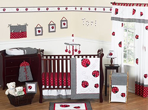 Sweet Jojo Designs Red and White Polka Dot Ladybug Baby Girl Bedding 11pc Crib Set without bumper