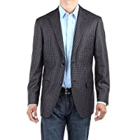 Bianco B Men's Check Modern Two Button Blazer Trim Fit Jacket (44 Regular US / 54 Regular EU, Charcoal)