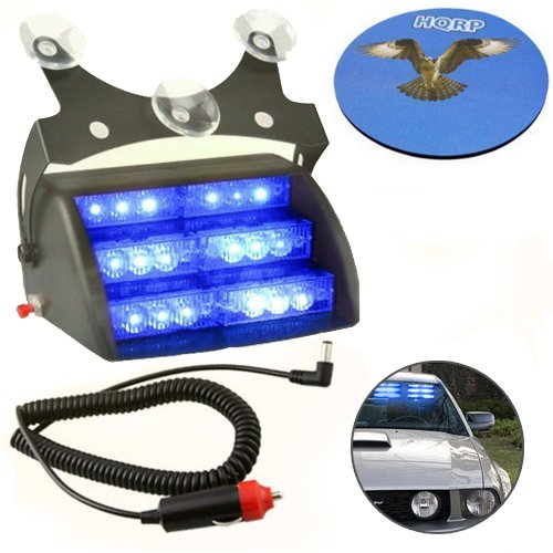 Hqrp Blue 18 Led Car Emergency Vehicle Warning Strobe Flash Light 12V With 4 Flash Mode Plus Hqrp Coaster