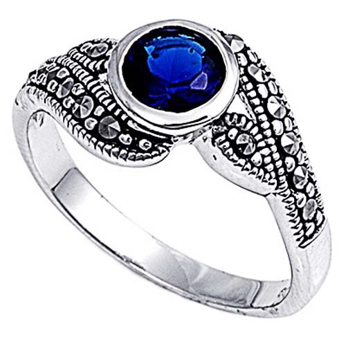 Rhodium Plated Sterling Silver Wedding & Engagement Ring Bezel Set Blue Sapphire CZ Marcasite Solitaire Ring 10MM ( Size 5 to 9) Size 6