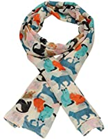 Miss Bella Overlapping Cat Print Womens Animal Fashion Scarf