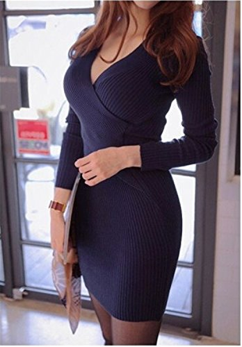 Sicong2 Up-to-Date style Women Casual Dress Summer Vestidos 2016 New Autumn Spring Fashion Style Deep V-Neck Knitted Sexy Club Female Dresses4 BlueOne Size Modern