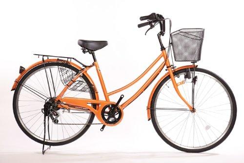 Lupinusルピナス 自転車 26インチ LP-266UD-O 軽快車 シマノ外装6段ギア ダイナモライト ブラックリム装備 100%完成車 オレンジ
