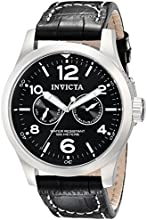 Invicta Invicta II Collection Men's Quartz Watch with Black Dial  Chronograph display on Black Leather Strap 0764