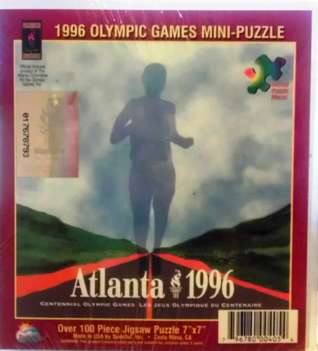"1996 Olympic Games Mini-Puzzle ~ Atlanta 1996 ~ Over 100pc Jigsaw Puzzle 7"" x 7"""
