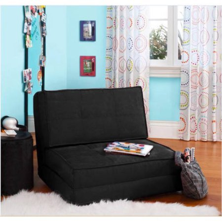 your-zone-flip-chair-ultra-suede-material-chair-easily-converts-into-a-bed-rich-black