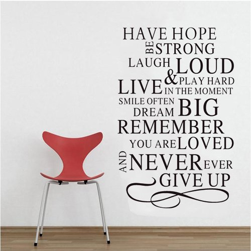 """23.6"""" X 15"""" Diy Wall Decals Art Murals Stickers Wall Saying Home Decoration Have Hope Be Strong Laugh Loud & Play Hard Live In The Moment Smile Often Dream Big Remember You Are Loved And Never Ever Give Up front-1065786"""
