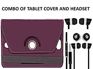 Value Combo Of Purple Tablet Book Flip Case Cover And Black Headset Earphones For Karbonn TA Fone A34 HD With 3.5mm Jack & Mic