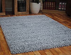 Grey Dense Thick Luxury Shaggy Rug Small Medium Large Runner 5 Cm Quality Rugs