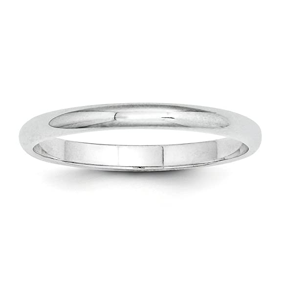 Platinum 2mm Half-Round Wedding Band Ring - Size U 1/2
