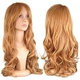 SODIAL(TM) 28 inch Womens Long Slap-up Curly Wigs Party Cosplay Fancy Dress Beauty + Wig Cap - Light Brown