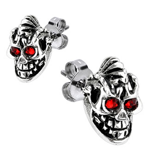 Spikes 316L Surgical Stainless Evil Skull Red CZ Eyes Stud Earring