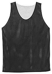 Badger Polyester Mesh Reversible Tank in Black w/ White in size YM