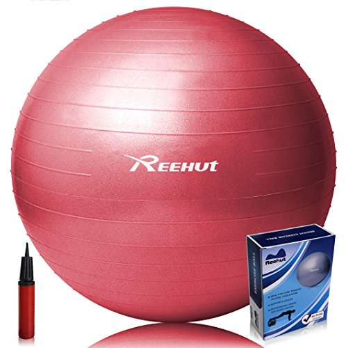Reehut Anti-Burst Core Exercise Ball for Yoga, Balance, Workout, Fitness w/ Pump (Red, 45cm)