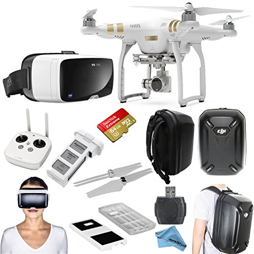 "DJI Phantom 3 Professional Quadcopter Drone Bundle with Zeiss VR One Virtual Reality Headset & eDig ""Eye in the Sky"" Package (Galaxy S6)"