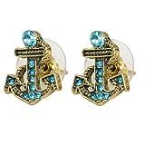 Gleader Pendientes Piercing de Oreja Bronce, Forma de Ancla Nautica con Diamantes Azules