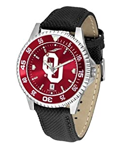 University of Oklahoma Sooners Mens Leather Wristwatch by SunTime