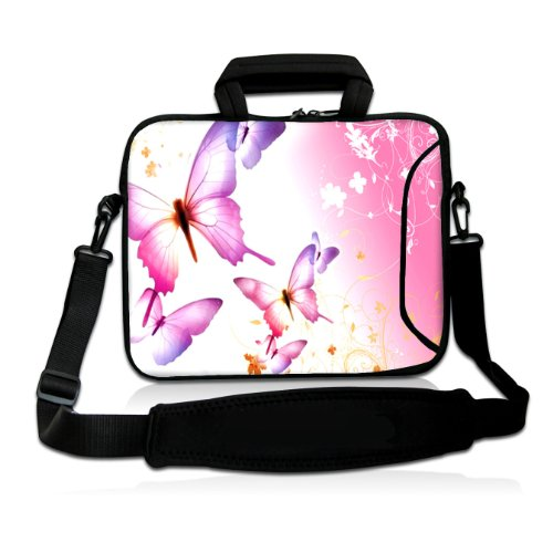 "Casebuy 17"" 17.3"" 17.4"" Inch Pink Butterfly Neoprene Notebook Laptop Soft Bag Sleeve Case Cover Pouch With Adjustable Shoulder Strap For Apple Macbook Pro 17 /Hp Envy 17 Series/ Pavilion Dv7/Dv7T/G72/G72T/G7T/M7 Series / Dell Inspiron 17 17R I17Rm I17Rv X front-345843"