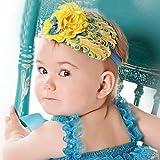 Lovely Unusal Cotton Girls Baby Yellow Feather Hairband Yellow Big Flower Headband