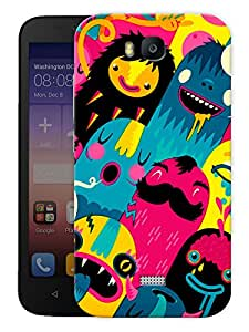 """Humor Gang Happy Colorful Cute Monsters Printed Designer Mobile Back Cover For """"Huawei Honor Bee"""" (3D, Matte, Premium Quality Snap On Case)"""