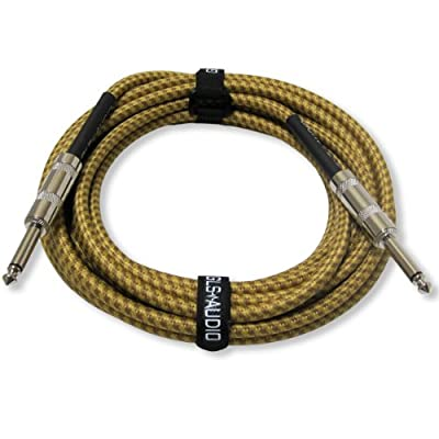 GLS Audio 20 Foot Guitar Instrument Cable - 1/4 Inch TS to 1/4 Inch TS 20 FT Brown Yellow Tweed Cloth Jacket - 20 Feet Pro Guitar Cord 20' Phono 6.3mm Cord - SINGLE by GLS Audio