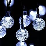 Ghirlanda solari in forma di sfera di cristallo in piena aria, 6m 30LED Luce Esterno con 8modalità ideale per patio, giardino, Albero di Natale, Giardino, decorazione di sera (Bianco)