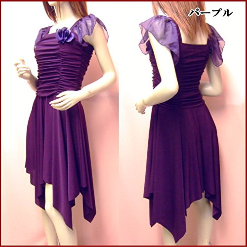 パープル 紫 ダンス衣装としても☆Mサイズ~Lサイズ対応 パーティードレス 袖あり ドレープ シンプルで上品なワンピースドレス ダンス衣装 結婚式ドレス 選べるカラー【d53-am】