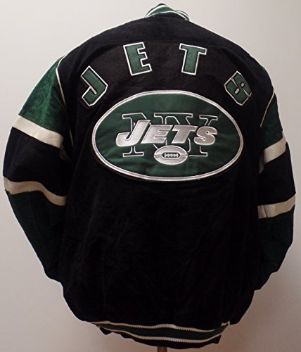 Men`s NFL New York Jets Suede Full-zip/Button-up Varsity Jacket (XL)