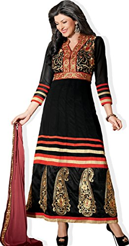 Atisundar Charming Blended Georgette Designer Embroidered Anarkali In Black And Red- 4427_32_11011