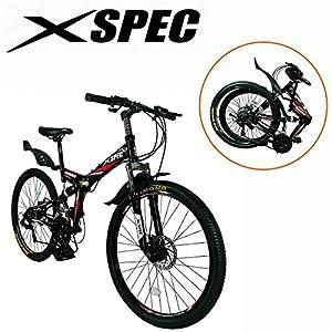 "Xspec 26"" 21 Speed Folding Mountain Bike Bicycle Trail Commuter Shimano Black by Xspec"