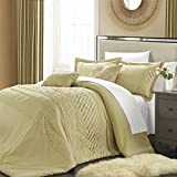 Carissa 5 Piece Pleated Handmade Technique Comforter Set, King Champagne