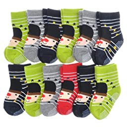 Angelina 12 Pairs French Terry Cotton Non-Skid Baby Socks #361Hat_0-12