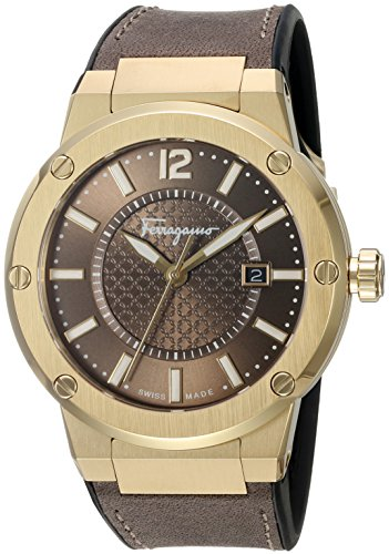 Salvatore-Ferragamo-Mens-F-80-Swiss-Quartz-Stainless-Steel-and-Leather-Casual-Watch-ColorBrown-Model-FIF060016