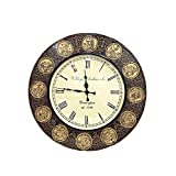 Shivay Arts Handcrafted Beautiful Wooden & Brass Horoscope Wall Clock / Wall Decor / Wall Hanging
