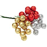 Generic Gold, 20 Mm : 10Pcs/lot Red Sliver Gold Christmas Tree Hanging Baubles Fruit Ball Hanging Balls Party...