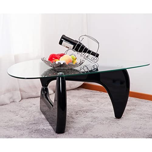 Merax Isamu Noguchi Style Coffee Table with Glass Top, Black