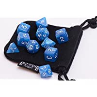 10 Piece Blue Frost Polyhedral Dice Set - Includes Four Six Sided Dice (D6) And Free Small Dice Bag