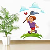 Rawpockets Decal ' Boy Catching Butterfly' Multi-Color Large Size Wall Sticker(Material- PVC Vinyl Matte Finish,Wall Coverage Area -Height -105cm X Width -70cm)( Pack Of 1)