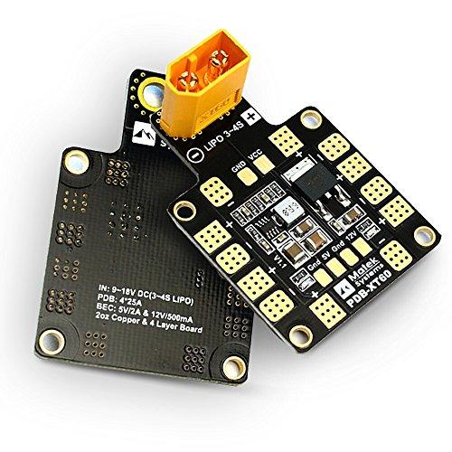 Crazepony Matek XT60 PDB Power Distribution Board 5V 12V BEC Output Support 6 ESC for X or H Design FPV Racing Quad (Quad Distribution Board compare prices)